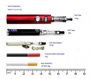 best e cig and shisha pen: size and weight